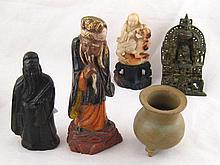 Oriental figures. A bronze model of a sage,