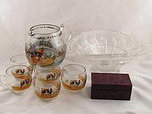 A punch set of jug and five glasses, all hand