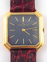 An 18ct gold gent's wristwatch with lapis lazuli dial by Baum & Mercier,  c