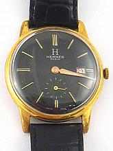 Hermes. A two colour metal gent's wrist watch, dial and case signed Hermes