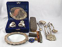 A mixed lot including a silver mounted oval mirror, marked 925, a silver ba