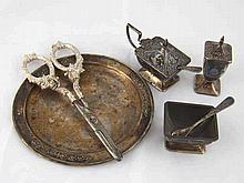 An Indonesian three piece silver cruet in Art Deco style , a small tray, 14