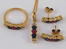 A suite of yellow metal (tests 18 carat gold) sapphire, ruby and diamond je