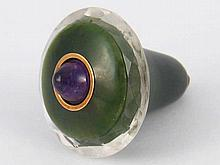 A Russian nephrite pendant bell push with amethyst button. 4.2cm. diameter