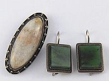 A Soviet Russian hallmarked silver brooch, approx 5 x 2.5cm, and a pair of