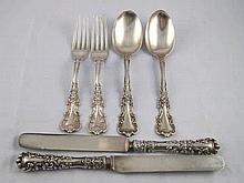 Two settings of 19th. century American sterling silver fork, spoon and silv