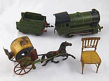 A vintage tinplate horse and two wheeled open carriage, AF,  a Hornby O Gau