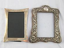 Two silver photo frames, one silver faced shaped oak, back missing, 16x19cm