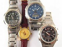 A mixed lot comprising three gent's Casio stainless steel wrist watches and