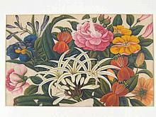 A pair of very fine framed Chinese watercolours on rice paper of flowers, s