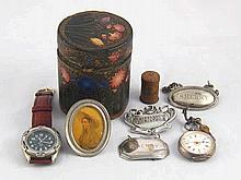 A mixed lot comprising a tooled leather cased tin with Art Nouveau decorati