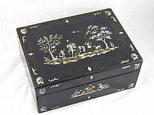 A 19th. century lady's ebony sewing box, the lid and front with scenes of a