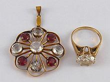 A 9 carat gold paste set ring, size N, together with a 9 carat gold (tested