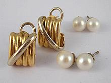 A mixed lot comprising two pairs of cultured pearl stud earrings, pearls ap