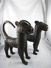 A pair of Benin tribe bronze leopards, circa 1940, ht.35cm.