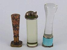 Three desk seals, one rhodonite, one with blue guilloche enamel band, one w