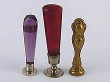 Three desk seals, one rococo gilt and two with hardstone handles.