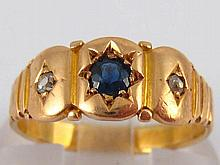 A yellow metal (tests 18 carat gold) sapphire and diamond ring, size K, 2.8