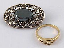 A mixed lot comprising a 9ct gold diamond ring, total estimated diamond wei