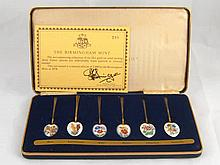 A limited edition, 288/2.000, set of six silver gilt coffee spoons, each en