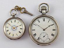 Two silver cased pocket watches (A/F).