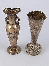 Two small specimen vases, one hallmarked silver by Hilliard and Thomason, C