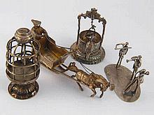 Miniatures. A group of three musicians, stamped Israel Jerusalem, a bird in