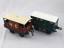 Hornby ''O'' gauge rolling stock. A Southern Railway cattle wagon and a Nor