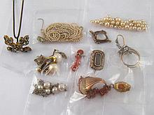 A mixed lot including a pair of lady's coral cufflinks, an antique locket b