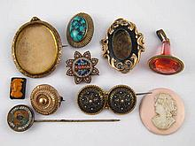 A mixed lot comprising a pendant seal, two loose cameos, six untested brooc