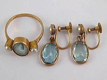 A mixed lot comprising a pair of aquamarine and seed pearl drop earrings, m
