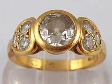 A yellow metal (tests high carat gold, marked 840) diamond ring, the princi