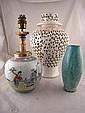 A green Raku glazed bellied cylinder vase, a