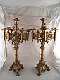 A pair of Victorian Gothic style bronze finish