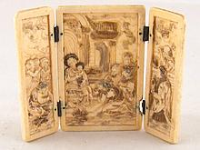 An ivory triptych of the Epiphany with gilt