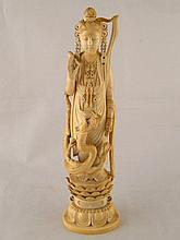 A 19th. c. Chinese ivory figure of Guanyin, her