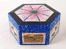A very fine hexagonal hardstone box, the dark blue