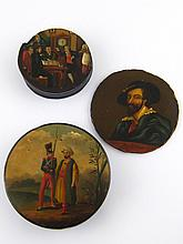 Two 19th century lacquer boxes, (one AF), the lids