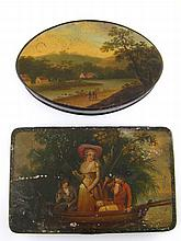 Two 19th century European painted tin boxes, the