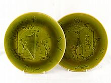 A pair of French ceramic plates ,one with Chinese