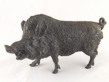 A well detailed bronze model of a boar, length