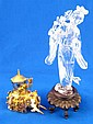 A Chinese rock crystal figure in case, together