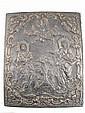 A large bronze Russian icon of Jesus and Mary at