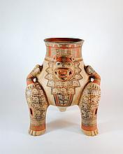 Large Central American Redware Pottery Animal Figural Tripod Vessel