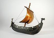 Bronze Viking 17 Inch Longboat Model by Tron Art