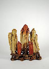 Antique Chinese Hardstone Agate Fuk Luk Sau Wise Men Statue