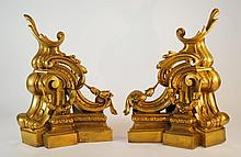 Antique Gilt Metal Rococo Style Andirons