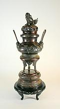 Large Antique Oriental Foo Dog Bronze Censer with Stand and Teak Base