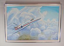 Marshall J. Rahn (American 1922 - 2003) Jet in Flight 1986