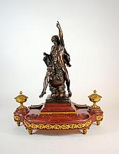 Antique Ormulu Mounted Red Marble Ink Stand, E. Picault Bronze